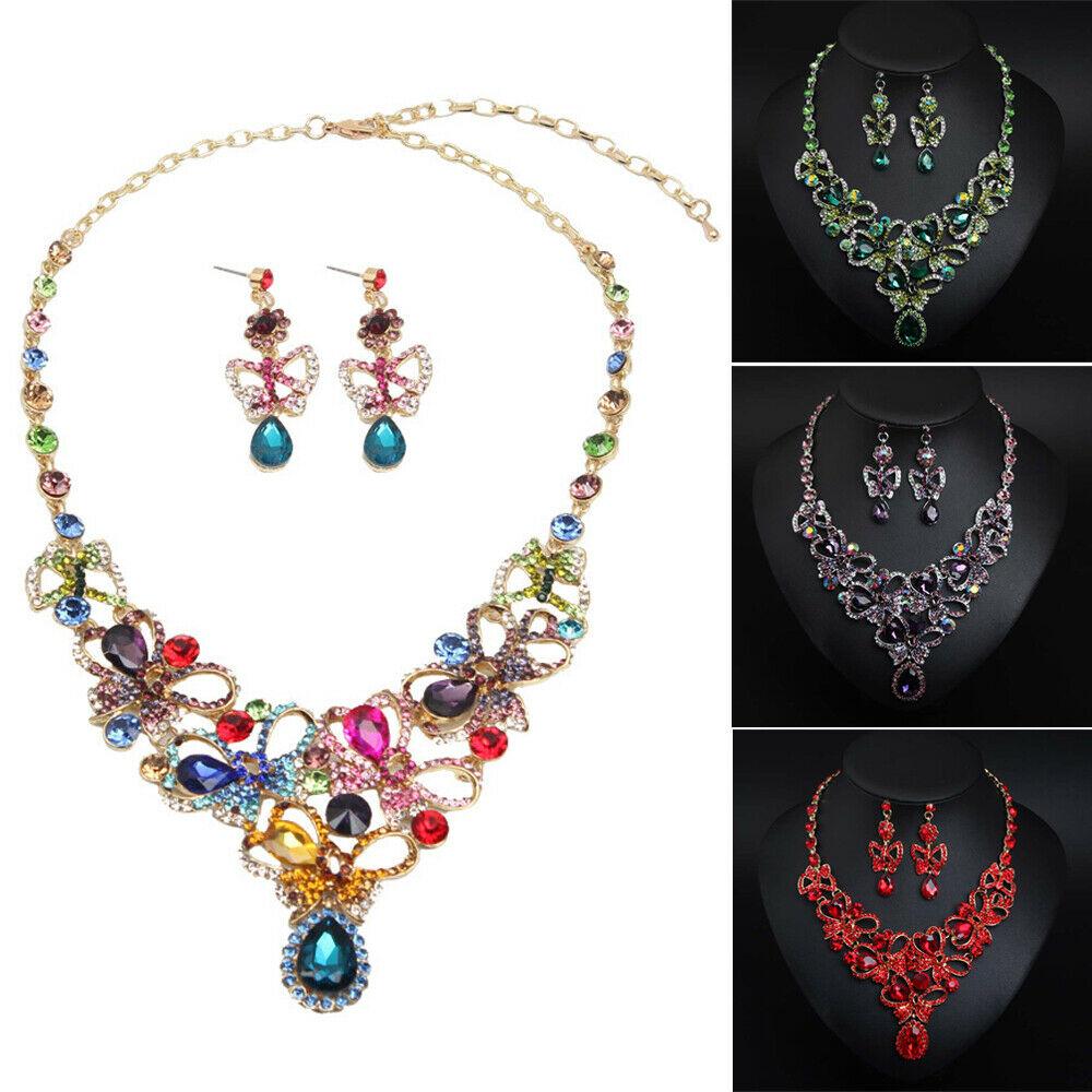 Crystal Rhinestone Butterfly Women Necklace Earrings Wedding Bridal Jewelry Set