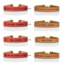 Inspirational Quote Personalized Letters Engraved Bangle Best Friends Red Leather Bracelet Charm Soul Sister Friendship Gift faux leather engraved rope owl charm bracelet