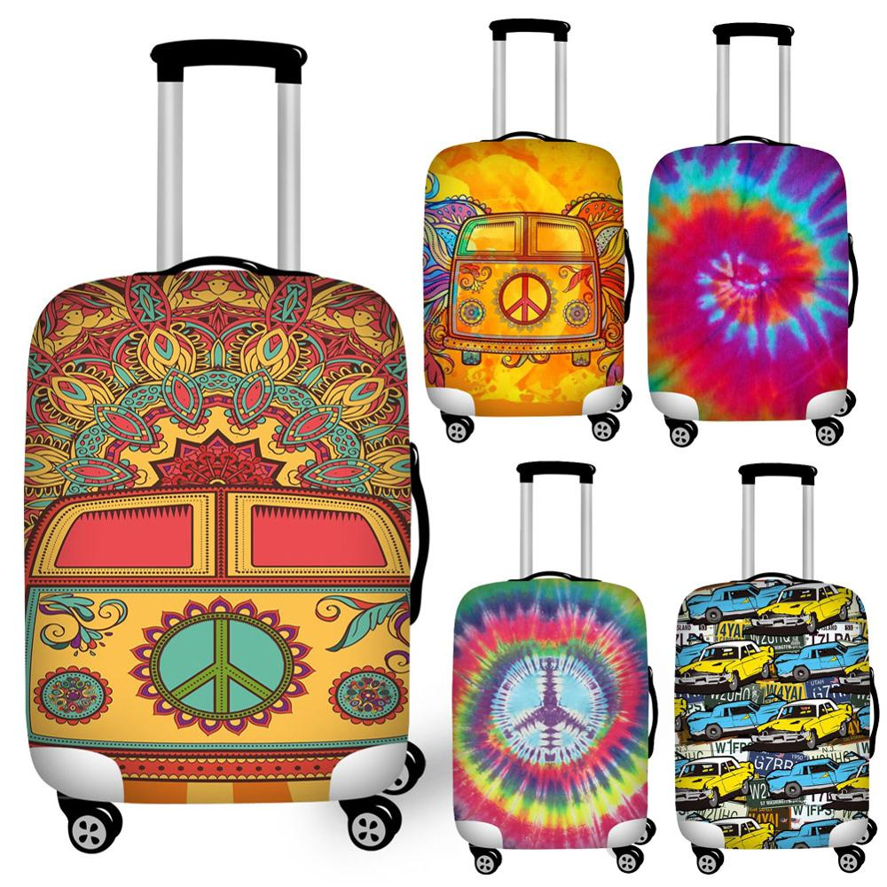 Mixed Color Hippie Bus Print Luggage Protective Dust Cover Waterproof 18-32inch Suitcase Cover To Luggage Set Stretchable
