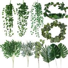 Różne zielone rośliny sztuczne liście eukaliptusa na bukiety ślubne dekoracje kwiatowe ślubne dekoracje urodzinowe