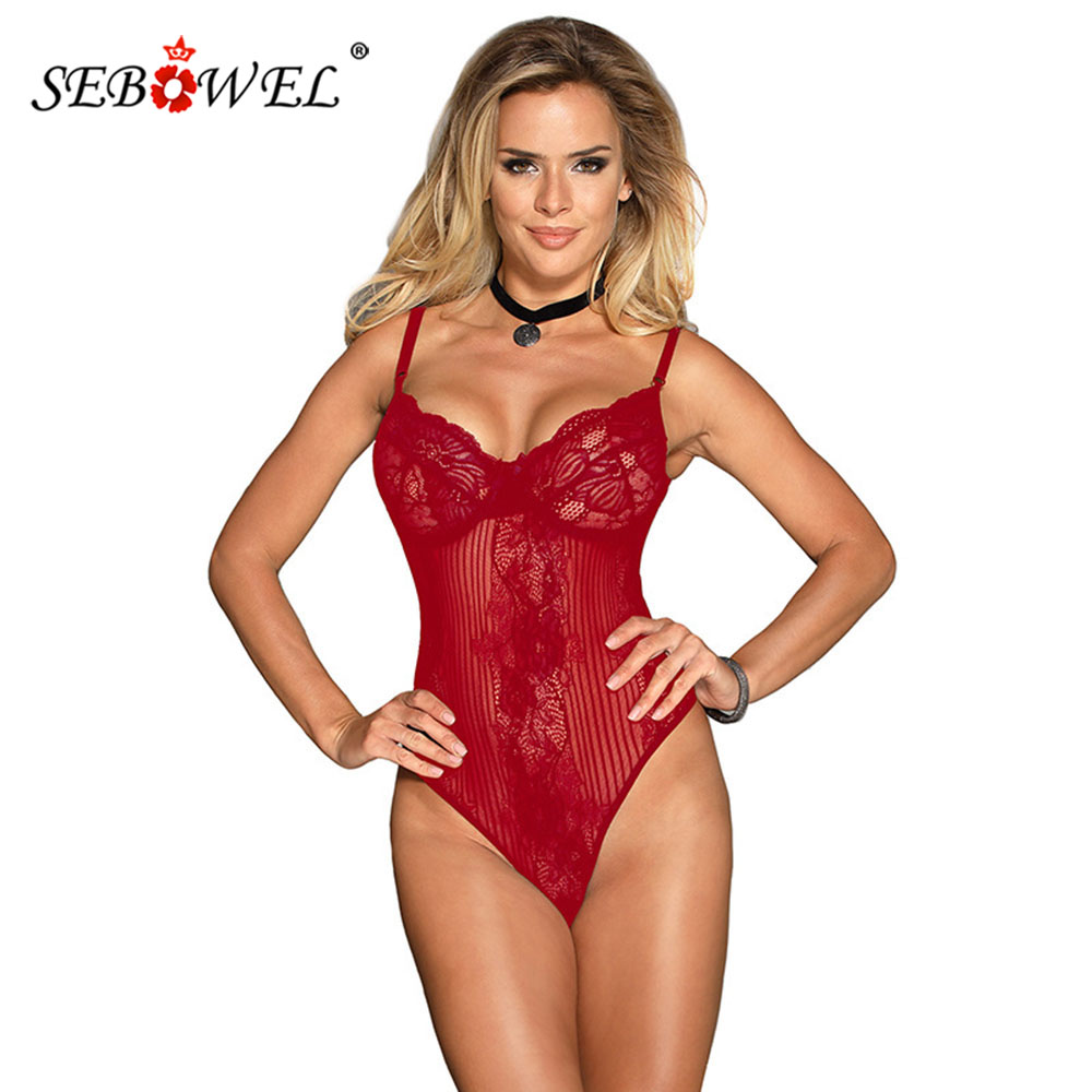SEBOWEL New Sexy Transparent Floral Lace Body For Woman Sleeveless Sheer Bodysuits Plus Size Rompers Female Bow Bodycon Overalls