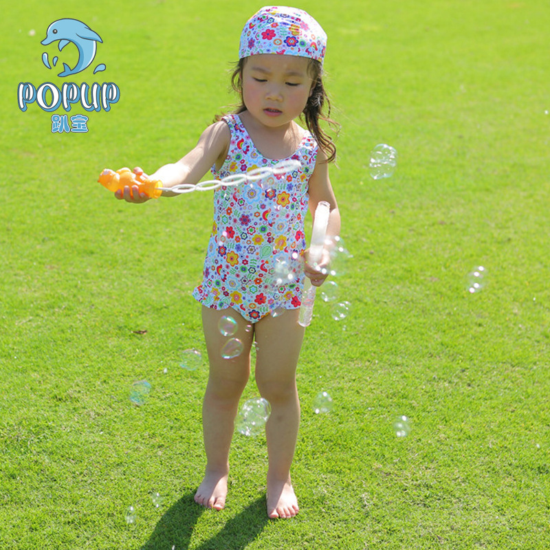 New Style Girls Printed One-piece Swimming Suit Beach UV-Protection Summer Culottes One-piece GIRL'S Swimsuit