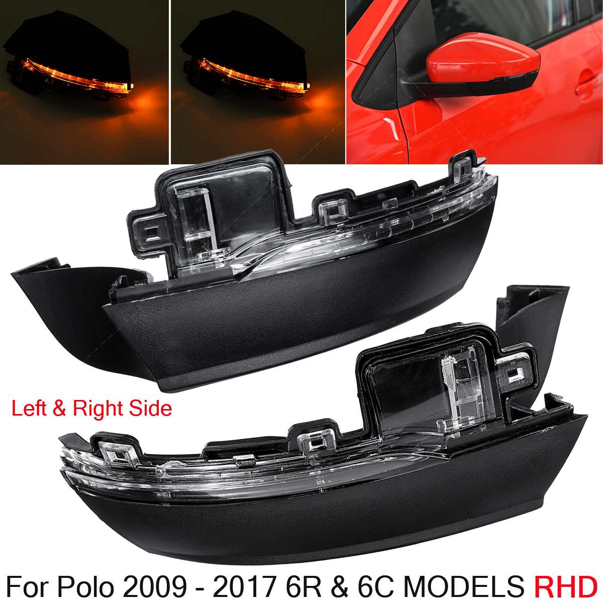 2X Car Mirror Turn Signal LED Side Rearview Mirror Indicator Blinker Repeater Light 6R0949101 6R0949102  for VW Polo 6R 6C