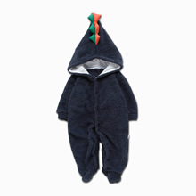 Newborn Infant Baby Boy Girls Rompers Fur Winter Dinosaur Hooded Romper Jumpsuit Clothes Outfits Baby Clothes