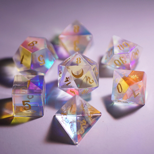 7pcs/set Color Laser Crystal Multifaceted Dice D&d D4 D6 D8 D10 D% D12 D20 TRPG Games Dice Set Board Game Entertainment Dice SD