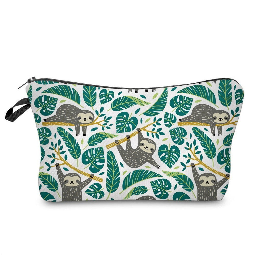 Had5210e5f3c24a6fb23751b41d433d7bY - Sloth Cosmetic Bag Waterproof Printing Swanky Turtle Leaf Toilet Bag Custom Style for Travel