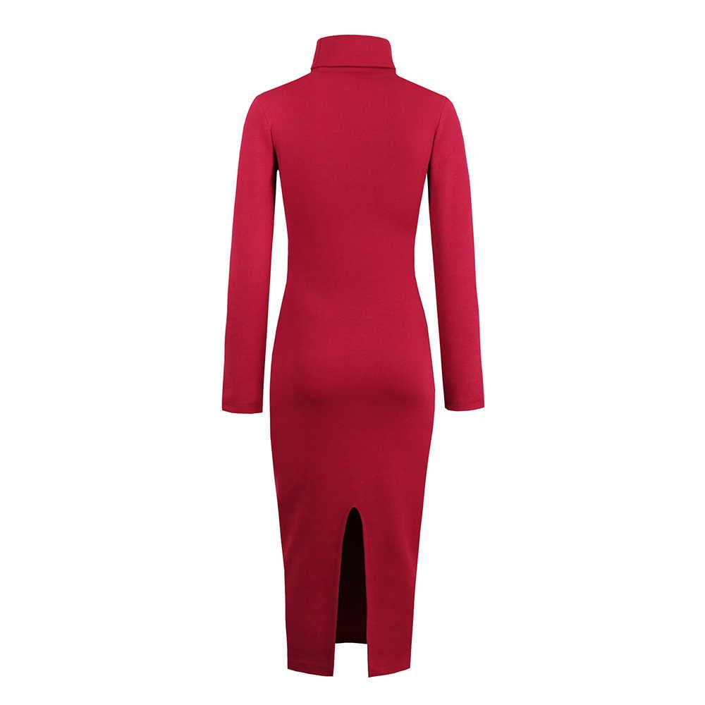 Camisola feminina vestido de manga longa primavera sexy clube magro gola alta bodycon strech malha midi vestidos casuais streetwear