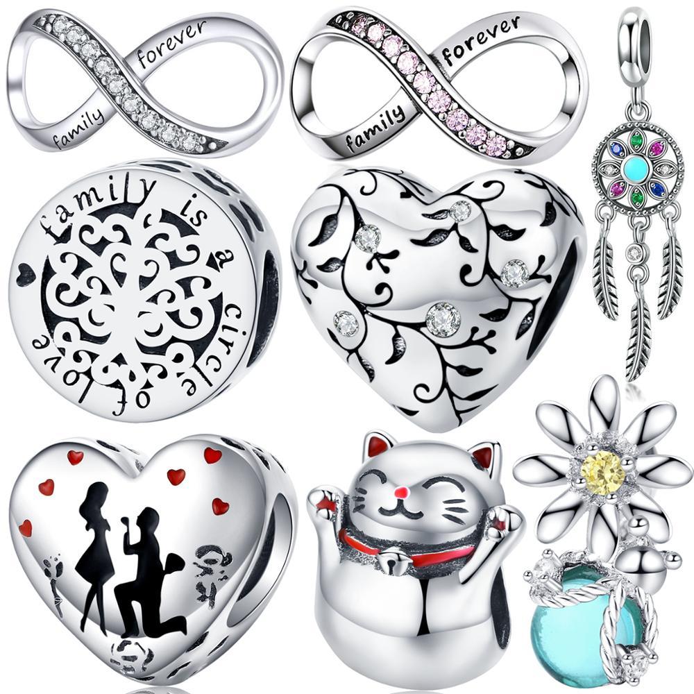 925 sterling silver heart shaped life tree charms fit original Pandora beads bracelet pendant birthday gift woman jewelry making(China)