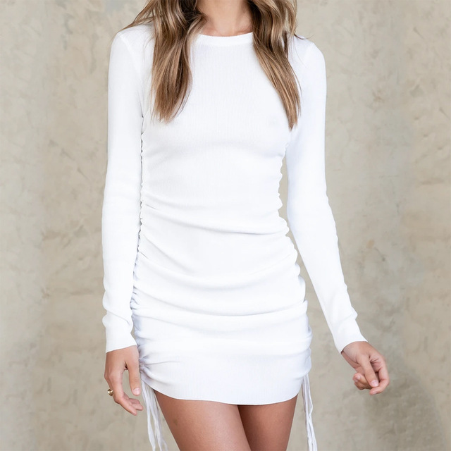 Ladies ribbed drawstring dress bodycon round neck short-sleeve sexy T-shirt dresses WL88 21