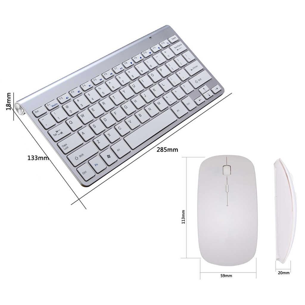 2.4G Wireless Mouse dan Keyboard dan Mouse Set Mini Multimedia Keyboard Mouse Combo Set untuk Notebook Laptop Desktop Mac PC TV