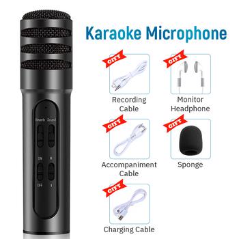 Mikrofon pojemnościowy mikrofon bezprzewodowy zestawy studyjne ze słuchawkami mikrofon do Karaoke dla Tik Tok Youtube nagrywanie na żywo tanie i dobre opinie SZKOSTON Mikrofon ręczny Karaoke mikrofon Wielu Mikrofon Zestawy Dookólna wireless Karaoke Microphone Black Gold Pink