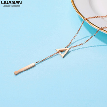 Chic Y Chain Necklace for Woman Simple Triangle Bar Lariat Necklace Pendant Fashion Rose Gold Stainless Steel Jewelry stylish cut out triangle lariat necklace