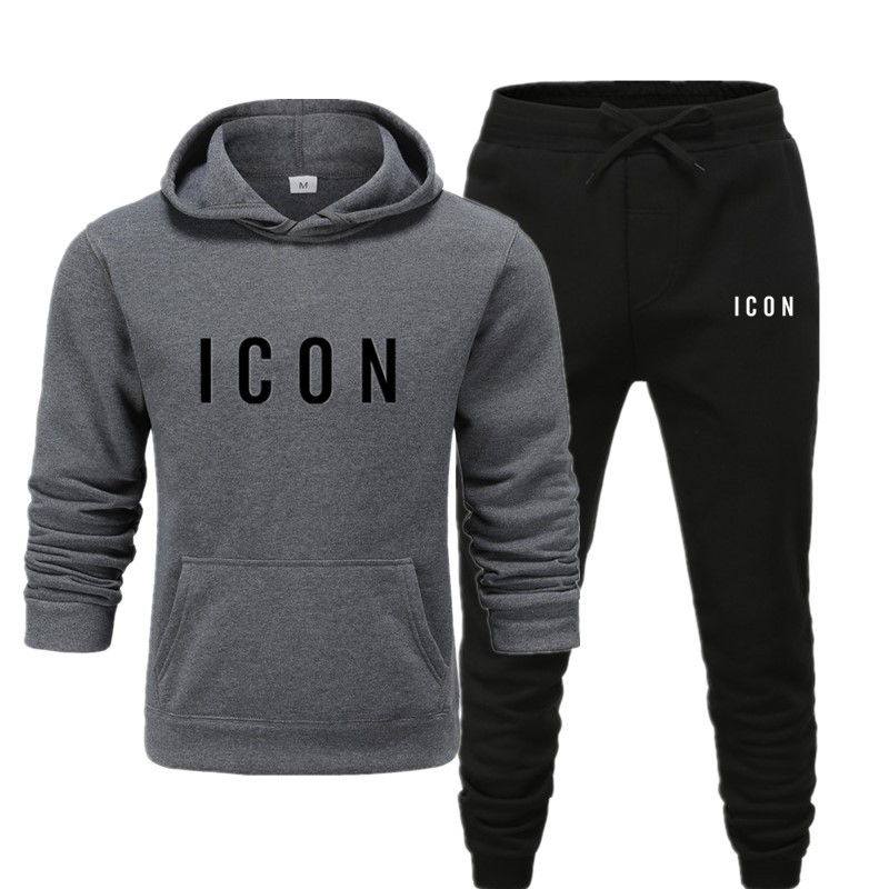 Brand Clothing Men's Casual Sweatshirts Pullover Cotton Men Tracksuit Hoodies Two Piece + Pants Sport Shirts Autumn Winter Set