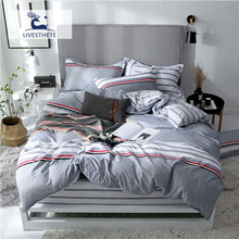 Liv-Esthete 2019 New Classic Striped Bedding Set Printed Soft Duvet Cover Pillowcase Bed Linen Flat Sheet Or Fitted