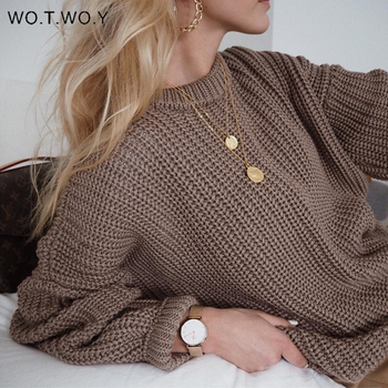 WOTWOY Oversized Solid Knitted Sweater Women Autumn Winter Loose Casual Pullovers Women Basic Long Sleeve Jumpers Female 2020 casual basic turtleneck sweater women knitted pullovers ladies solid sweater jumpers autumn female knitting tops jk153
