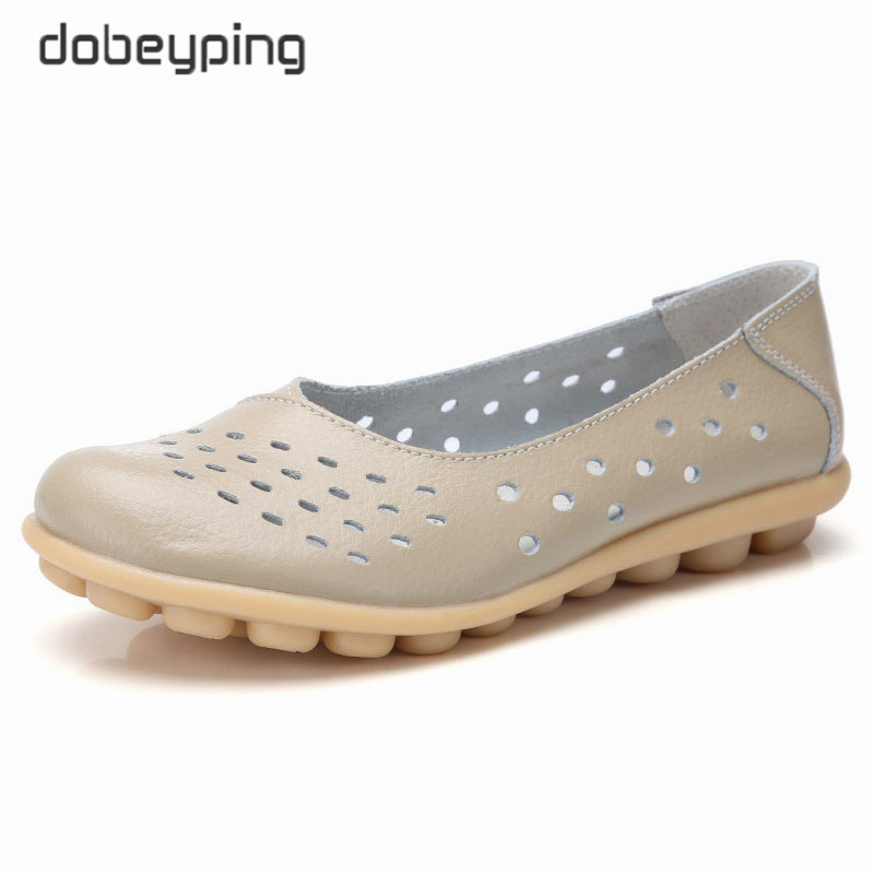 dobeyping Genuine Leather Women Flats New Cut Outs Summer Shoes Woman Hollow Women's Loafers Female Solid Shoe Large Size 35 44