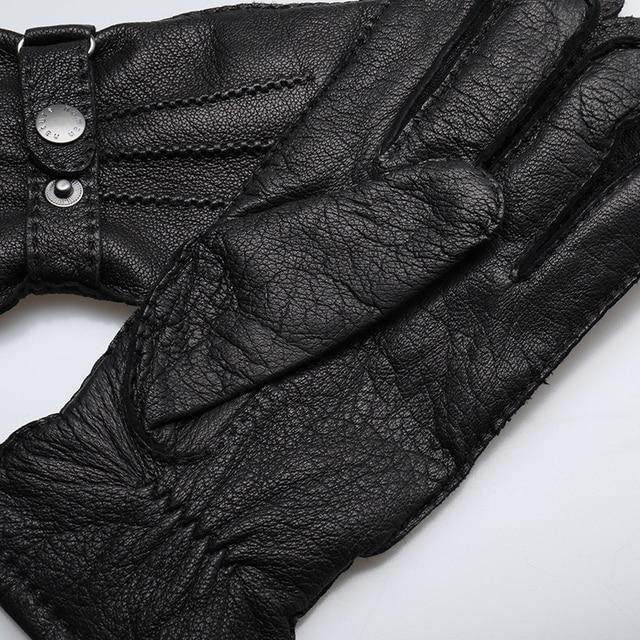Мужские перчатки,черные теплые зимние перчатки из натуральной кожи с кнопкой 4