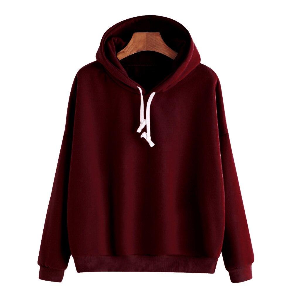 Pullover Hooded Hoodies Women Ladies Solid Long Sleeve Casual Sweatshirt Top Streetwear Sudaderas Para Mujer Hoodies Women