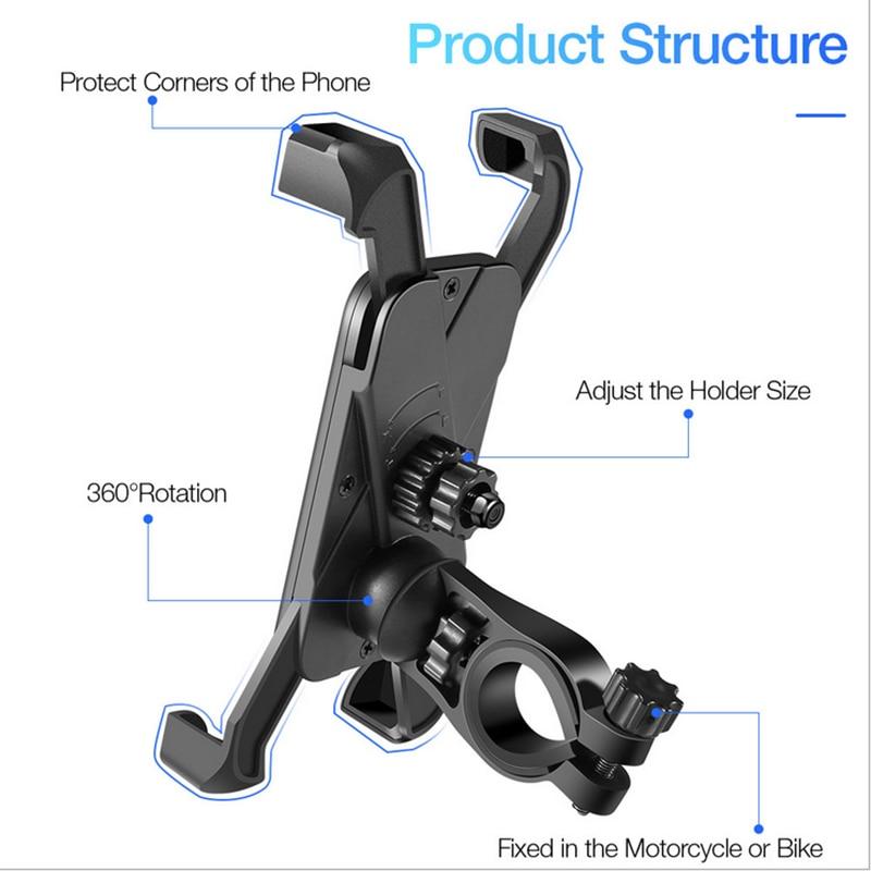Anti Shake 360° Rotation Adjustable Smartphone Mount Bracket Universal Bicycle Holder Bike Handlebar Mobile Phone Holder Stand