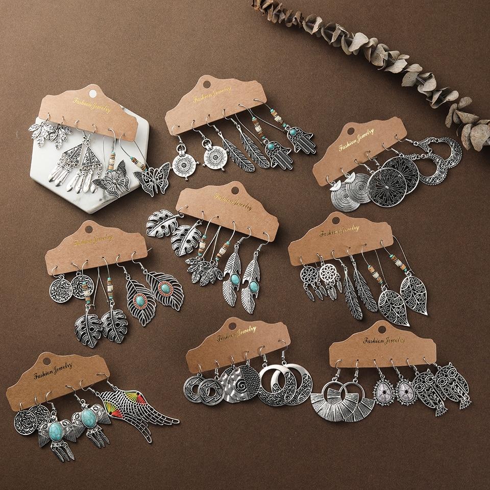 Multiple Women's Boho Ethnic Silver Color Dangle Drop Earrings In Set Fashion 2019 Ear Charm Jewelry Accessories For Women