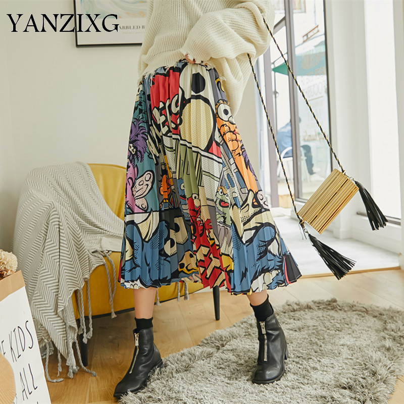 2019 Autumn New Casual Fashion Women Loose Plus Full Cartoon Pattern Multi color Pleated Skirt Z550