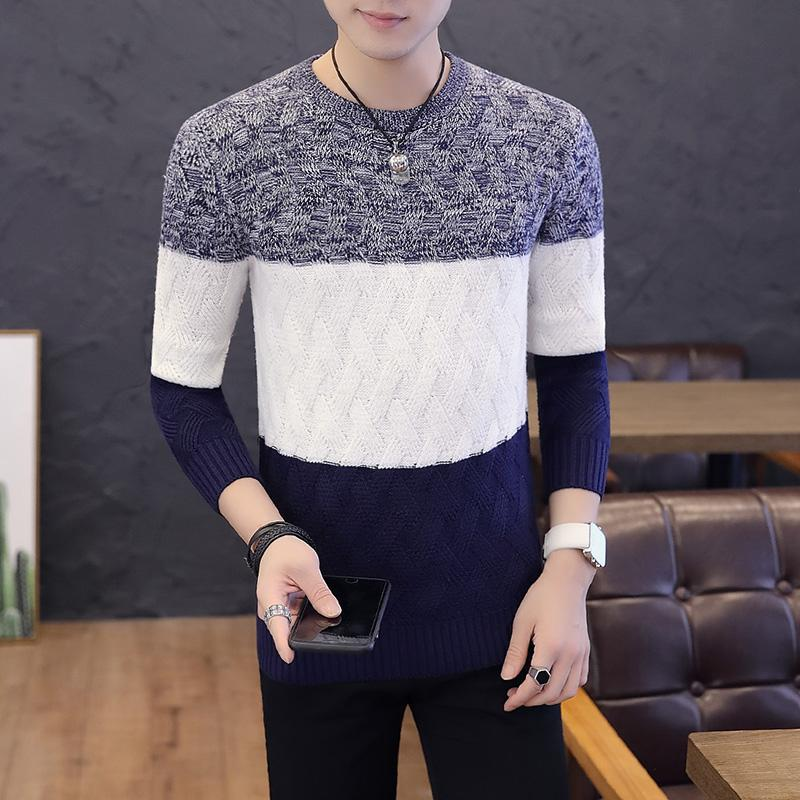 3 Colors Color Block Crew Neck Sweater Men M-3XL Long Sleeve Autumn Sweater Male Jerseys Casual Streetwear Knitted Tops XXXL
