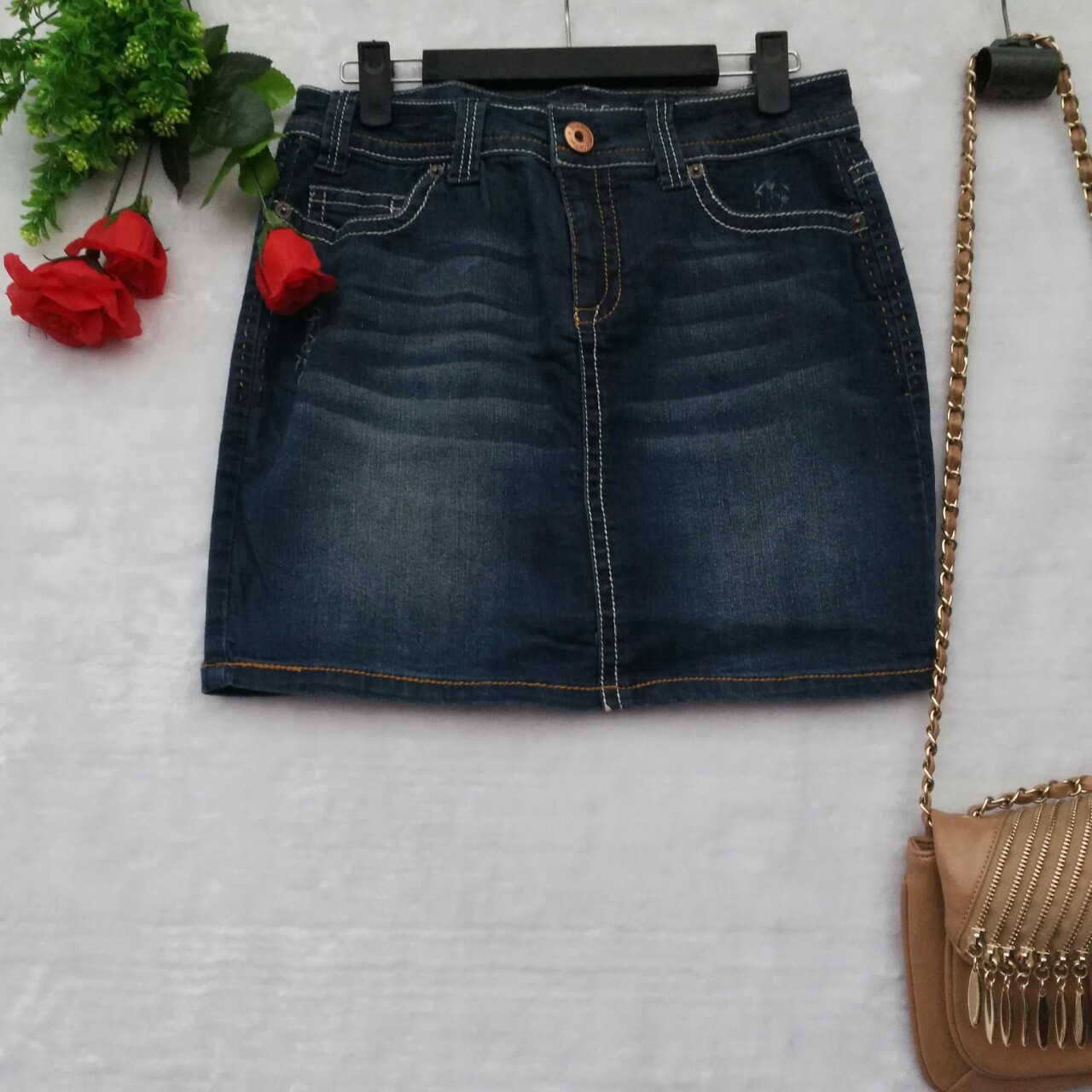 Origional WOMEN'S Dress Large Size Casual City Trend Pretty Girl Casual No Good Ultra-stretch Embossed Denim Skirt