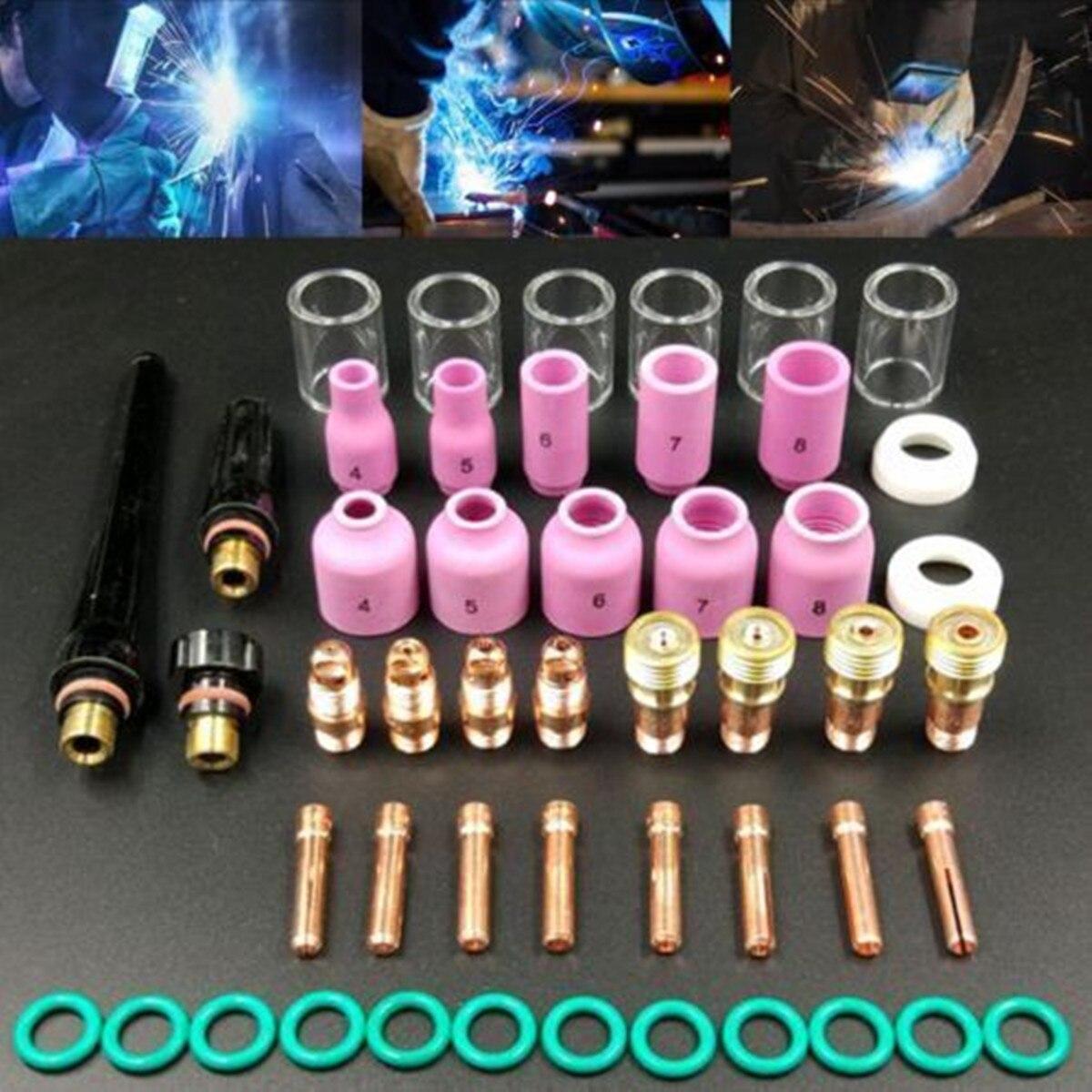 Tocha de soldagem stubby gás lente 49 pçs para WP-17/18/26 tig #10 pyrex copo de vidro kit durável prático acessórios de soldagem fácil uso