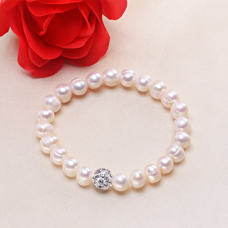 100% White 8-9mm Baroque Natural Freshwater Pearl Strand Bracelet for Women Wedding Bridesmaid Gift, Customized Pearl Bracelet