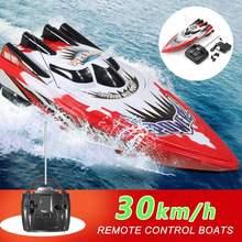Barco a Control remoto eléctrico para niños, bote de carreras de alta velocidad, baterías recargables, lancha rápida, Radio Control remoto, 30 km/h