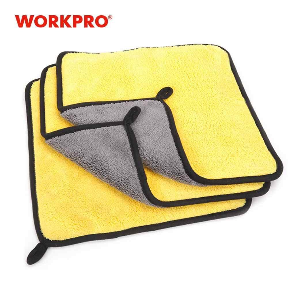WORKPRO 3 ชิ้น/ล็อตคู่ผ้าขนหนูสำหรับล้างรถการบำรุงรักษาไมโครไฟเบอร์ผ้าขนหนูซักผ้า 30 ซม.* 30 ซม.