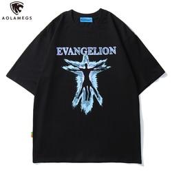 Aolamegs T Shirt mężczyźni EVANGELION nadrukowane litery koszulki O-neck bawełniane topy koszulki styl hip-hopowy Rock Hipster mężczyzna lato Streetwear 1