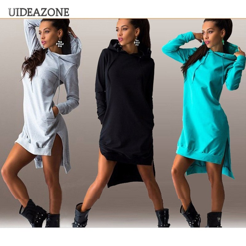 UIDEAZONE Casual Women Hoodies Loose Solid Color Ladies Sweatshirts Hooded Pullovers 2019 Autumn Streetwear