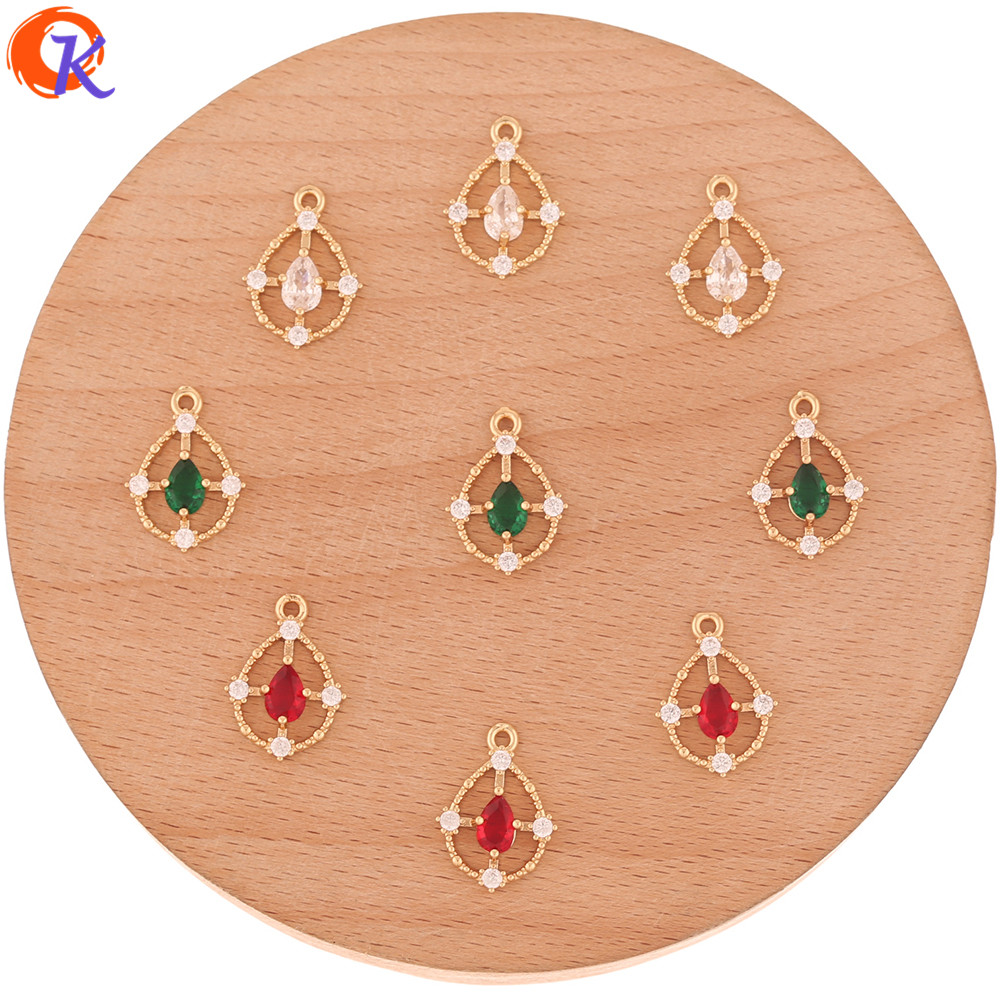 Cordial Design 50Pcs 12*17MM Jewelry Accessories/Rhinestone Pendant/DIY Making/Drop Shape/Hand Made/CZ Charms/Earring Connectors