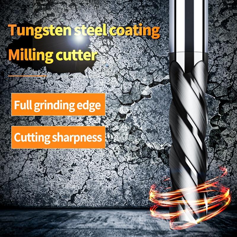 Endmill Cutting HRC50 4 Flute Mill 3mm 4mm 6mm 8mm 10mm 12mm Alloy Carbide Tungsten Steel Milling Cutter End Mill Metal Cutter