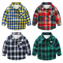 Children's Clothes Winter New Baby Boys And Girls Plaid Shirts Kids Long Sleeve Cotton Thicken Velvet Infant Casual Shirts