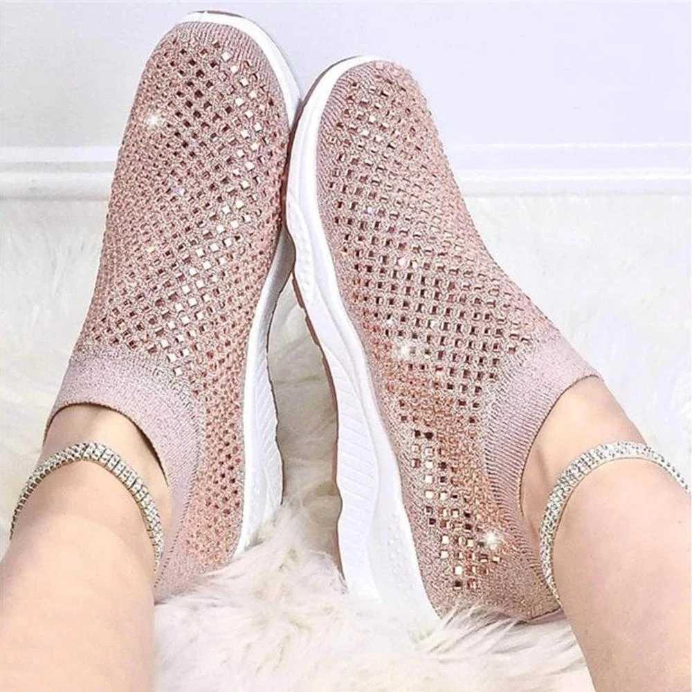 2020 phụ nữ Trắng Giày Casual Lưu Hóa Giày Mùa Hè Trơn Mút Giày Pha Lê Giày Nữ Huấn Luyện Viên Zapatos De Mujer