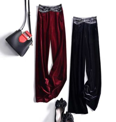 2020 Spring Fashion Gold Velvet Micro-flared Pants High Waist Loose Loose Thin Straight Fall Wide Leg Pants Women