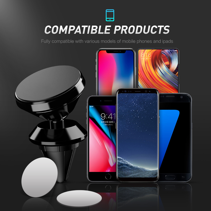 Car Phone Holder Magnetic Air Vent Magnet Mobile Phone Car Holder For Cell Phone Car Mount Holder Universal Support Any Phone