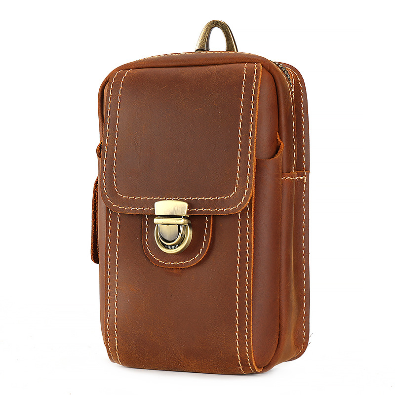 Matstone Guangzhou Leather MEN'S Bag Horse Leather Running Bag Verticle Double Layer Mobile Phone Bag Leather Waist Of Trousers
