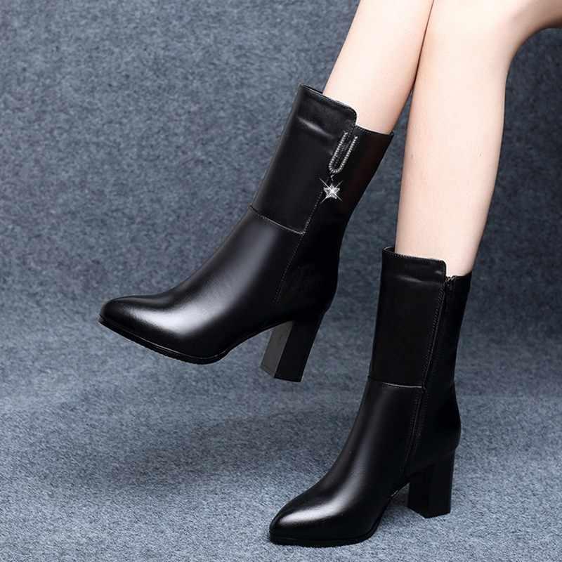 Stiefel frauen Herbst Und Winter 2019 Neue Stil Leder Buskin frauen Britischen Stil Mode Martin Stiefel Chunky ferse Hohe Ferse S