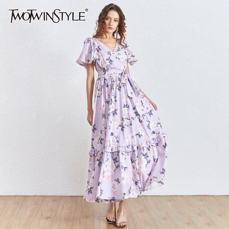 TWOTWINSTYLE Print Ruffles Party Dress Women V Neck Puff Short Sleeve High Waist Lace Up Dresses For Female Clothes 2020 Fashion