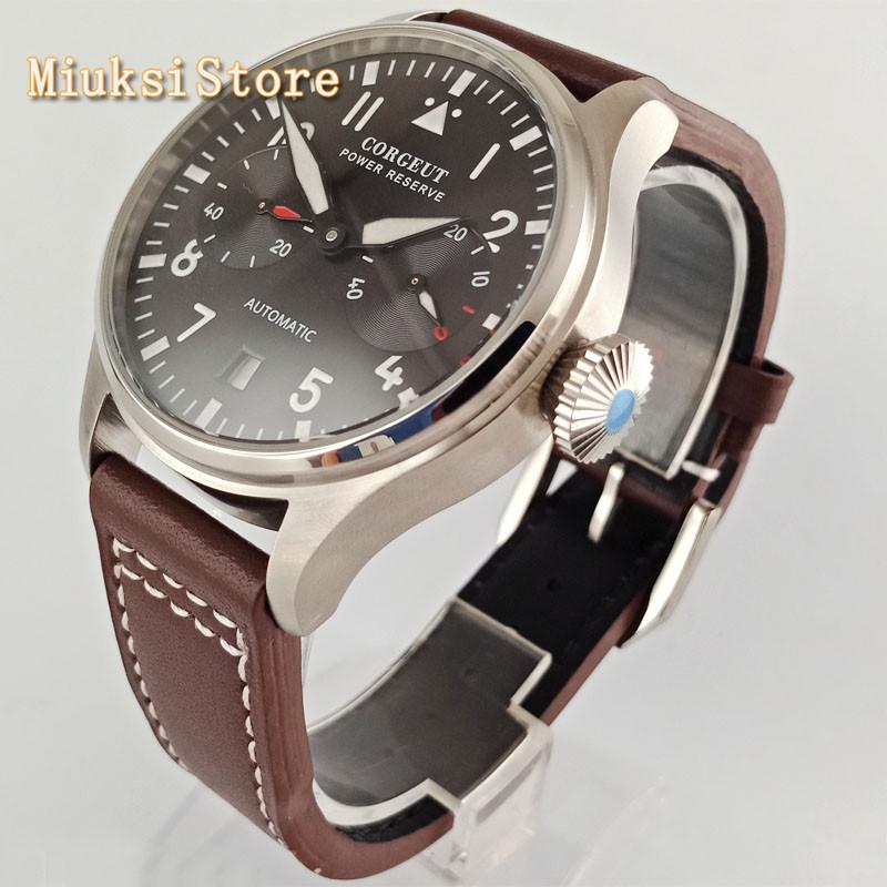 Corgeut 42mm silver/black/bronze case black/blue dial luminous seagull power reserve automatic movement mens top luxury watch