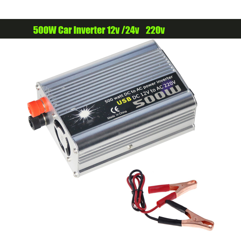 NEW 500W Car Inverter 12v 220v 50Hz Auto Inverter 12 220 Cigarette Lighter Plug Power Converter Inverter Peak Power 1000W image