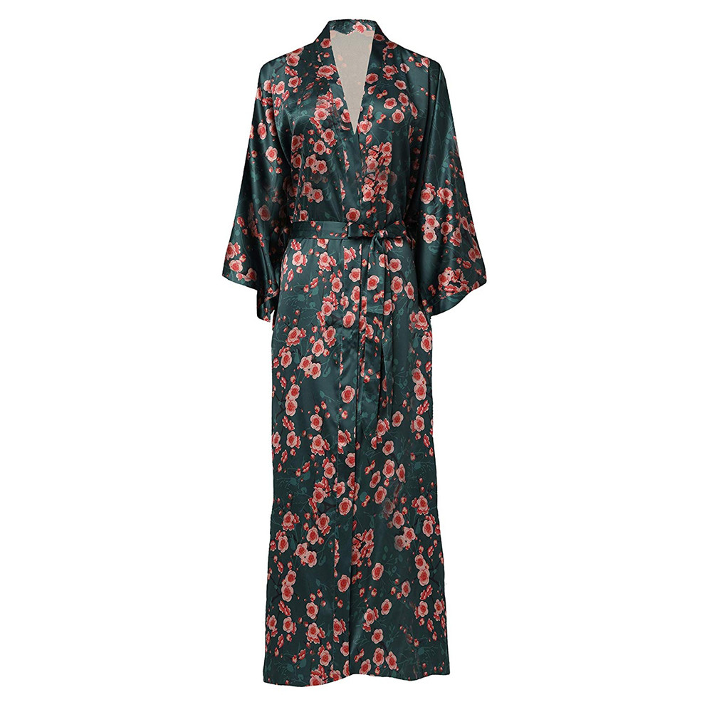 Quality Silk Plus Size Chinese Women Robe Vintage Print Kimono Bathrobe Home Dress Gown Long Nightgown Green Flower Sleepwear