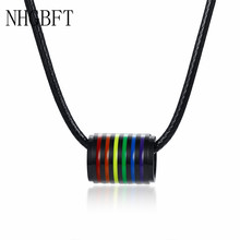 NHGBFT Black Rainbow round circle pendant for men woman Stainless steel necklaces black leather rope