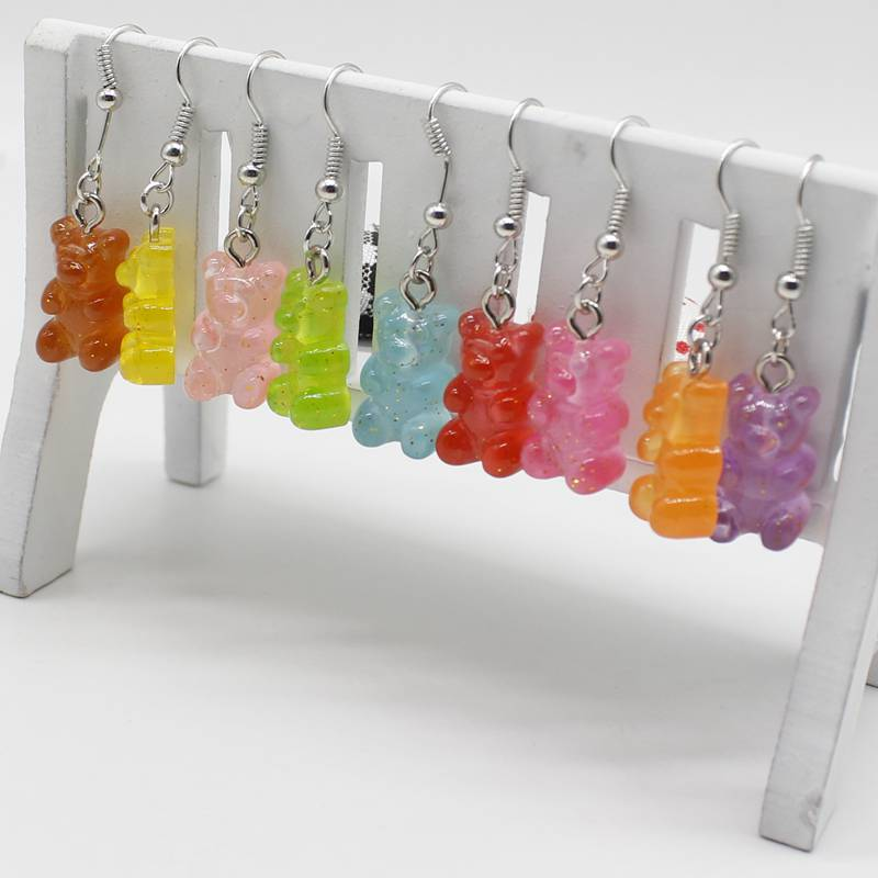 Cute with gold powder cartoon animal bear hanging earrings resin colorful candy color lady girl cute fun party jewelry gift