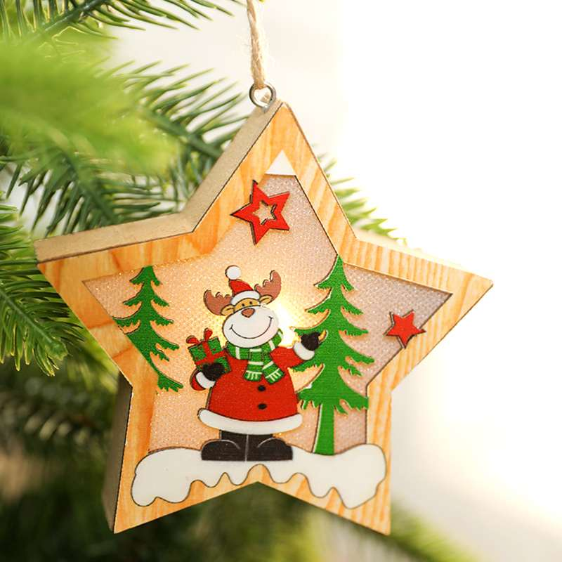 LED Light Christmas Tree Light Star Wooden Pendants Ornaments Christmas DIY Wood Crafts Kids Gift For Home Christmas Party Decor