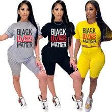 Sport women black lives material two pieces set t-shirt tops