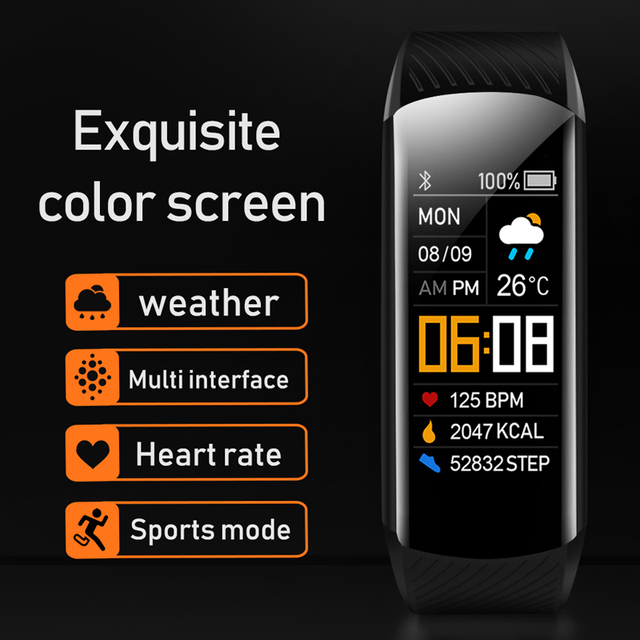 Sport Fitness Bracelet Waterproof  Fitness Tracker Blood Pressure Heart Rate Monitor Smart Band Watch For Android IOS Phone 2